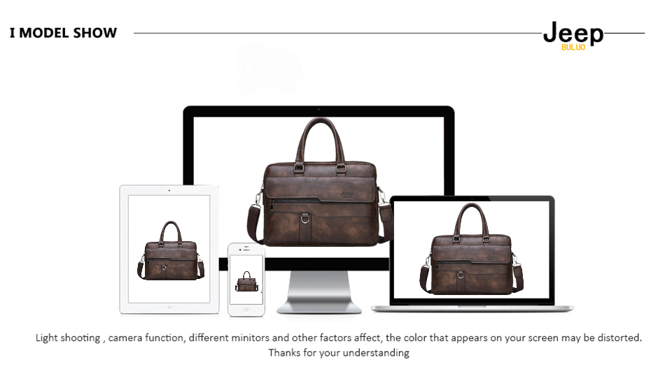 JEEP BULUO Brand Man Business Briefcase Bag Split Leather High Quality Men office Bags For 14 inch Laptop A4 File Causel Male