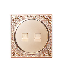 Champagne gold round 86 concealed telephone line interface Two fixed socket jack