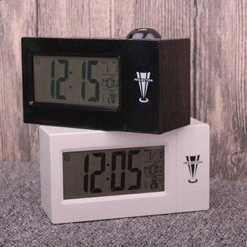 Ledデジタルプロジェクション目覚まし時計話してニキシー電子デスク時計付き時間プロジェクターベッドサイドウェイクアッププロジェクター腕時計子供デジタル時計