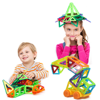 32PCS Mini Enlighten Bricks Educational Magnetic Designer Toy Square Triangle DIY Building Blocks Toys For Children