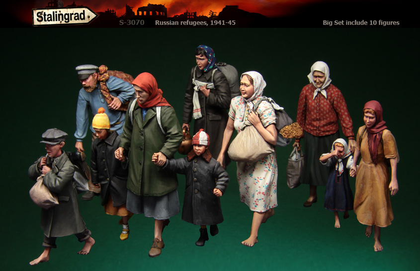 Stalingrad S 3070 Russian refugees 1941 45 Big Set include 10 figures 1 35 Resin Model