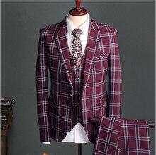 New Arrival Blue Red Plaid Style Men's Suit Blazers Bridegroom Wedding Business Prom Male Tuxedo three Piece Jacket+Pants+Vest