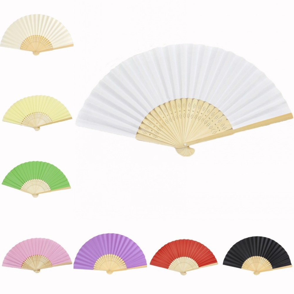 30 stycken * Personliga Ladies Bamboo & Pappershand Folding Fan Outdoor Dancing Bröllop Födelsedag Dop Party Favor
