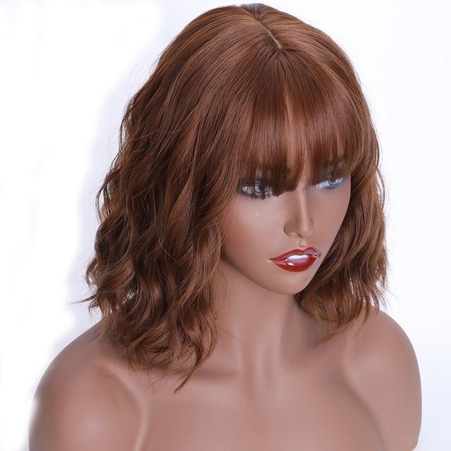 MERISI волосы синтетические волосы коричневые 9 цветов короткие волнистые парики для черных женщин фиолетовые парики с челкой HeatHeat Resistan