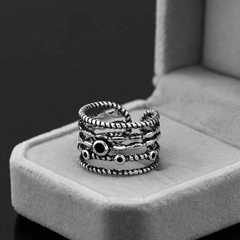 Anenjery בציר אופנה תאילנדי כסף רב שכבתי שחור קנבוס חבל פתיחת טבעות 925 כסף סטרלינג גברים נשים טבעת S-R356