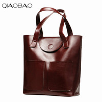 QIAOBAO 2018 Natural Cowhide leather bag wholesale Composite bag new European and American fashion oil wax leather totes