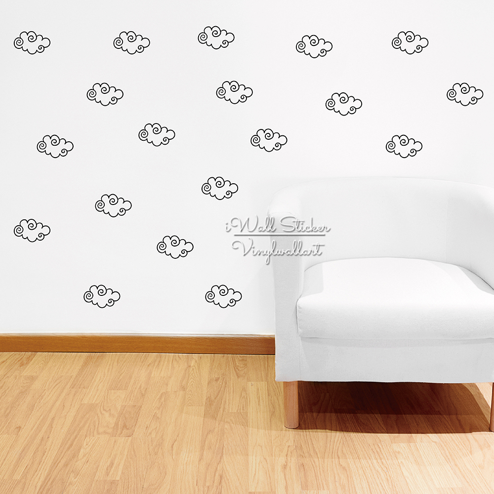 Clouds wall sticker pattern cloud wall decals removable easy wall stickers lovely clouds diy modern wall decor cut vinyl p35 in wall stickers from home