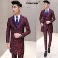 Mediados de Larga Bordado Floral Traje para Hombre 3 Unidades (Jacket + Pants + Vest) Trajes de boda Slim Fit Jacquard Tuxedo Terno masculino