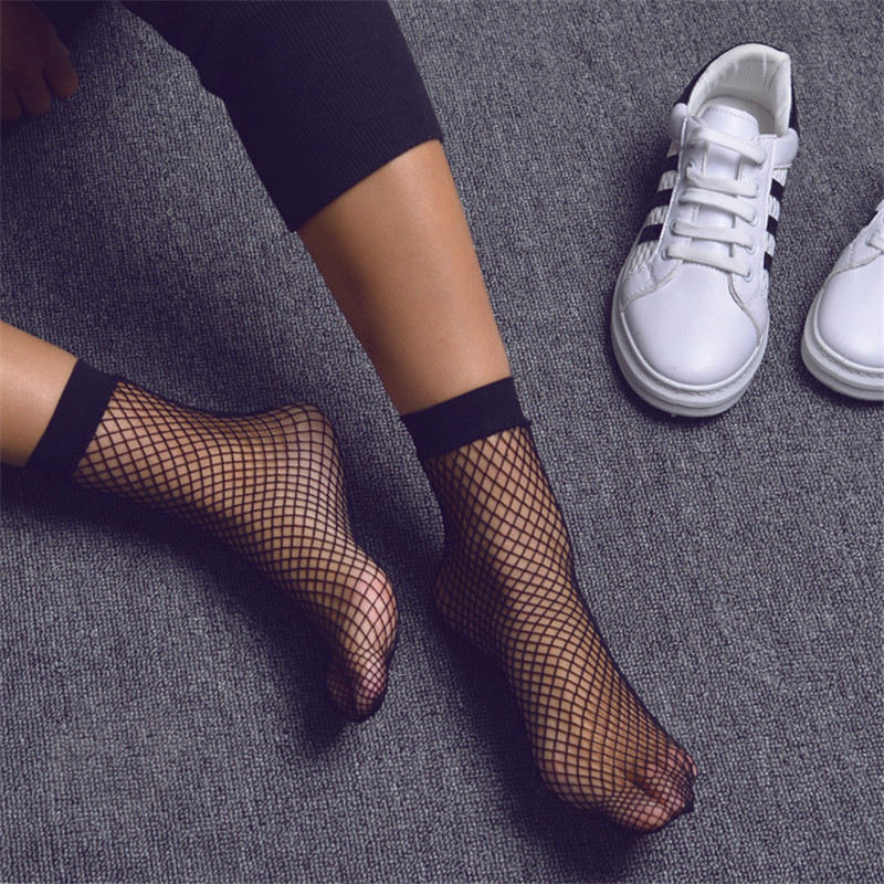 Punk-Women-Girls-Sexy-Black-Hollow-Out-Breathable-Mesh-Fishnet-Socks-Female-Gothic-Stretchable-Short-Hosiery