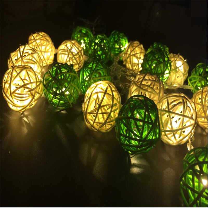 3M 20 LED Warm White 4cm Rattan Ball LED String Lighting Holiday - Festlig belysning - Foto 3