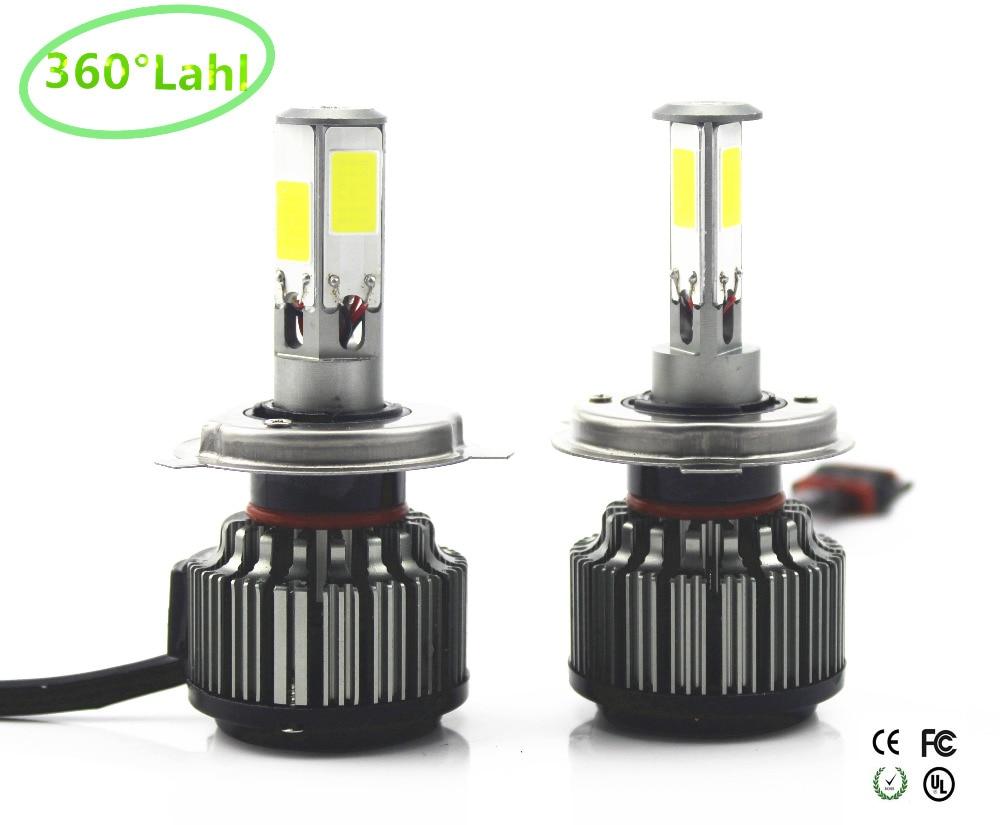 Prix pour 360 lahl 4 puces 84 W 12000lm De Voiture Phares H4 LED H7 H13 9004 9007 H11 9005 9006 VOITURE LED PHARE BROUILLARD Avant Ampoule Automobiles