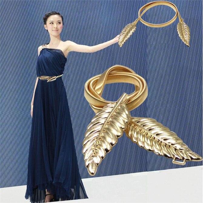 Novedad moda mujeres Metal hojas cintura elástica vestido Cinturón correa cintura promoción, vacaciones, accesorios de vestido de fiesta de boda