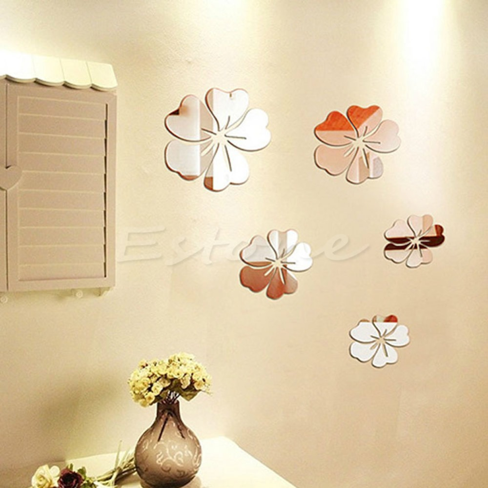New 1set Fashion Flowers Silver Acrylic 3d Mirror Effect Wall