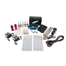 hot deal buy complete tattoo machine kit set 2 coils guns 5 colors black pigment sets power tattoo beginner grips kits permanent makeup