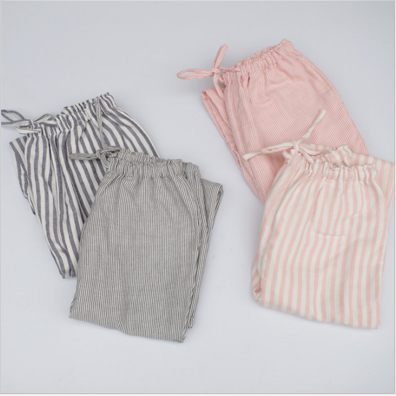 Spring Double Cotton Yarn Women Sleep Bottoms Female Loose Plus Size Nighty Trousers Sleepwear Pyjama Striped Pajama Pants