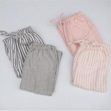 e4e2dd8f2458a 2019 printemps Double fil de coton femmes sommeil bas femme lâche grande  taille pantalon de nuit