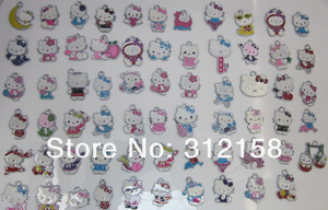 Image 1 - S4587366! Wholesale 100Pcs/Lots DIY Alloy Enamel mixed hello kitty Charms Metal Charms