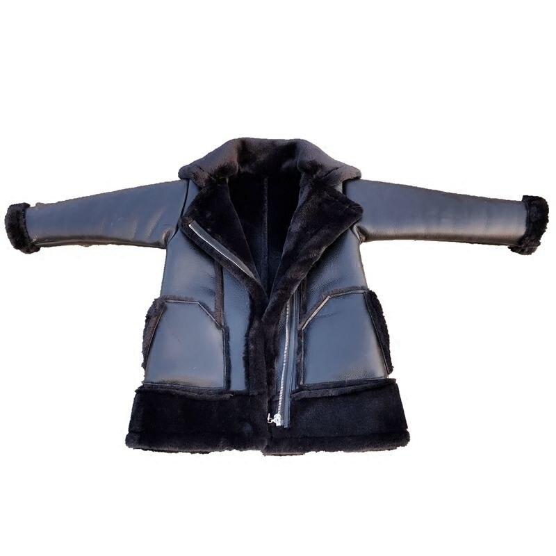 Hiver fille PU couture fausse fourrure veste enfants Plus velours chaud vêtements d'extérieur Modis adolescent Kdis Plus épais Parka agneau fourrure manteau Y2475 - 5