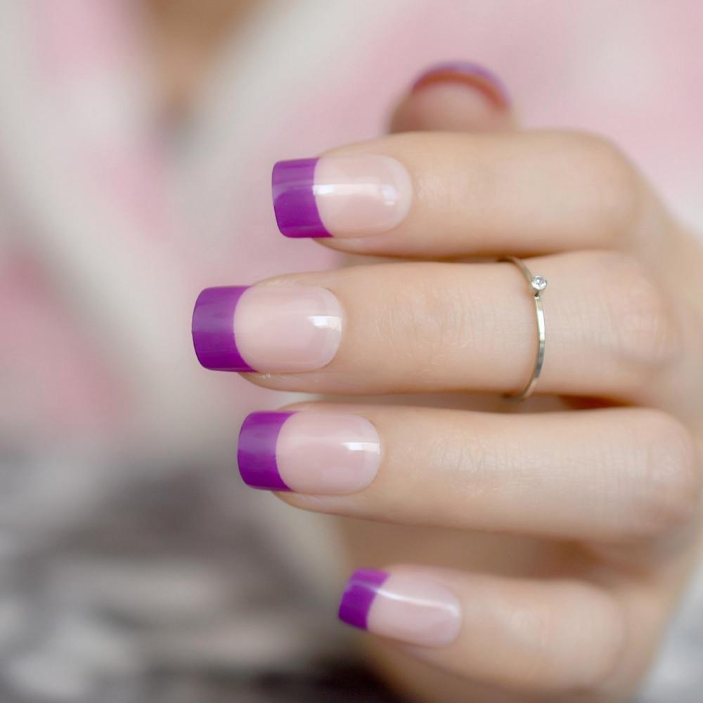 24pcs/kit Shiny Purple French Nail Art Decoration Short Full Cover ...