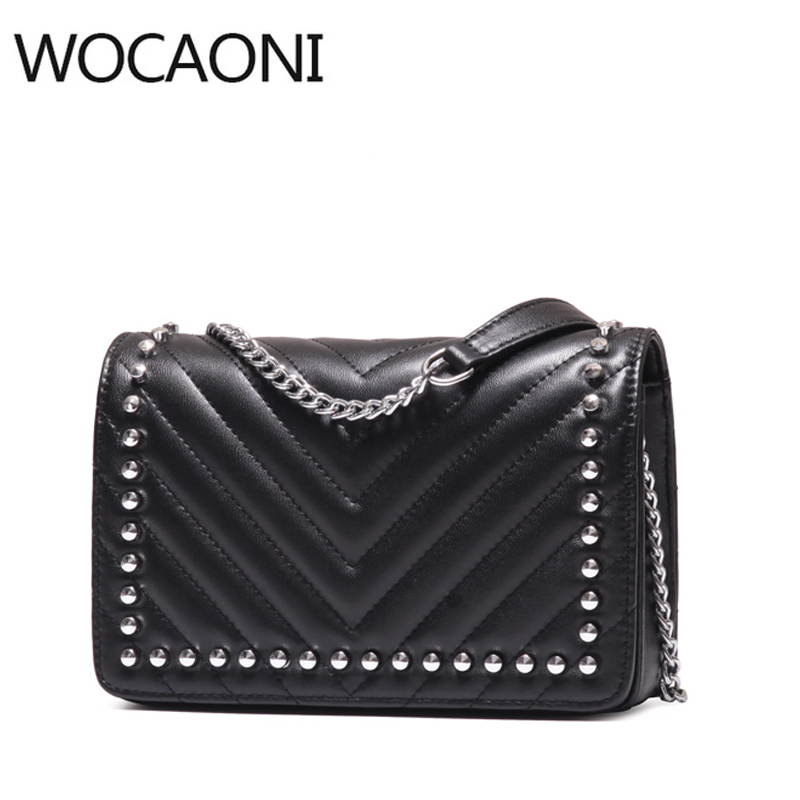 WOCAONI genuine leather clutches women 2018 famous brand luxurious evening bags clutches Designer New Rivet cowhide leather ba