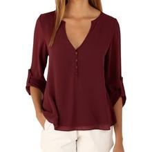 Blouses women's 2017 New Explosion Models V-neck Sexy Camisa Feminina long-sleeved Chiffon Shirt Women Clothing Vestidos LBD3185