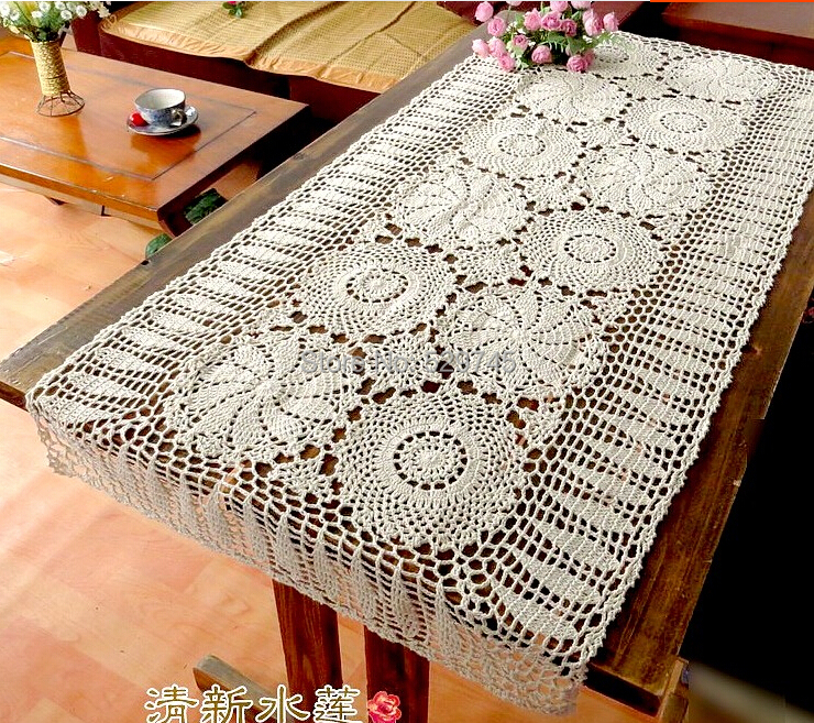 Handmade Crochet Flowers Sofa Towel Tablecloth Table Runner Woven Doilies Cotton Lace Hollow Coffee Table Cloth