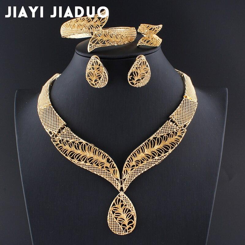 Jiayijiaduo African Beads Jewelry Sets Gold Color Necklace Leaf Earring Bracelet Wedding Jewellery S Jewelry