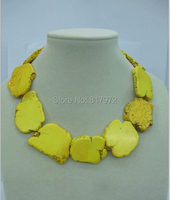 Wedding Gift Yellow Turquoise Slice Necklace Charming Handmade Woman Party Exaggerated Jewelry