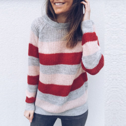Autumn Winter Striped Sweater Women 2018 Knit Jumper Sweaters Pullovers Female Black Pink Tops Pull Femme