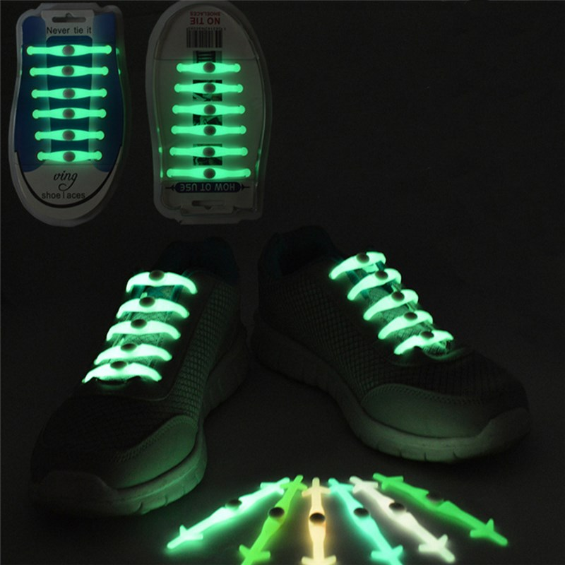Pc / Set Fashion Unisex Shoes Casual Shoeslace luminous Without Necktie Shoelace Elastic Silicone Shiny laces Shoelaces All Fit