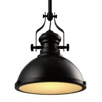 Industrial Retro Iron Light Bulb Country Painting Large Pendant lamp Fixture Ceiling Lamp Chandelier with 1 Light Black