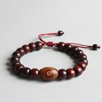 Eastisan Natural Red Sander Wooden Beads Bracelets Tibetan Buddhist Handmade Meditation Prayer Bracelet Men Women OM