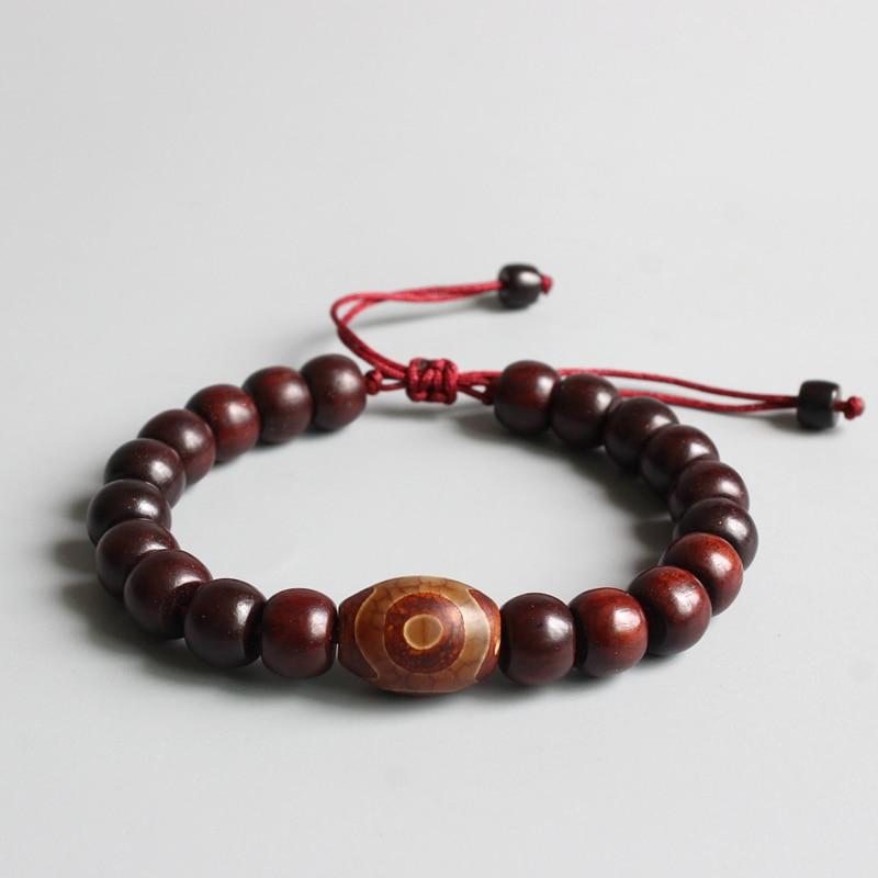 Eastisan Natural Red Sander Wooden Beads Bracelets Tibetan Buddhist Handmade Meditation Prayer Bracelet Men Women OM Jewelry