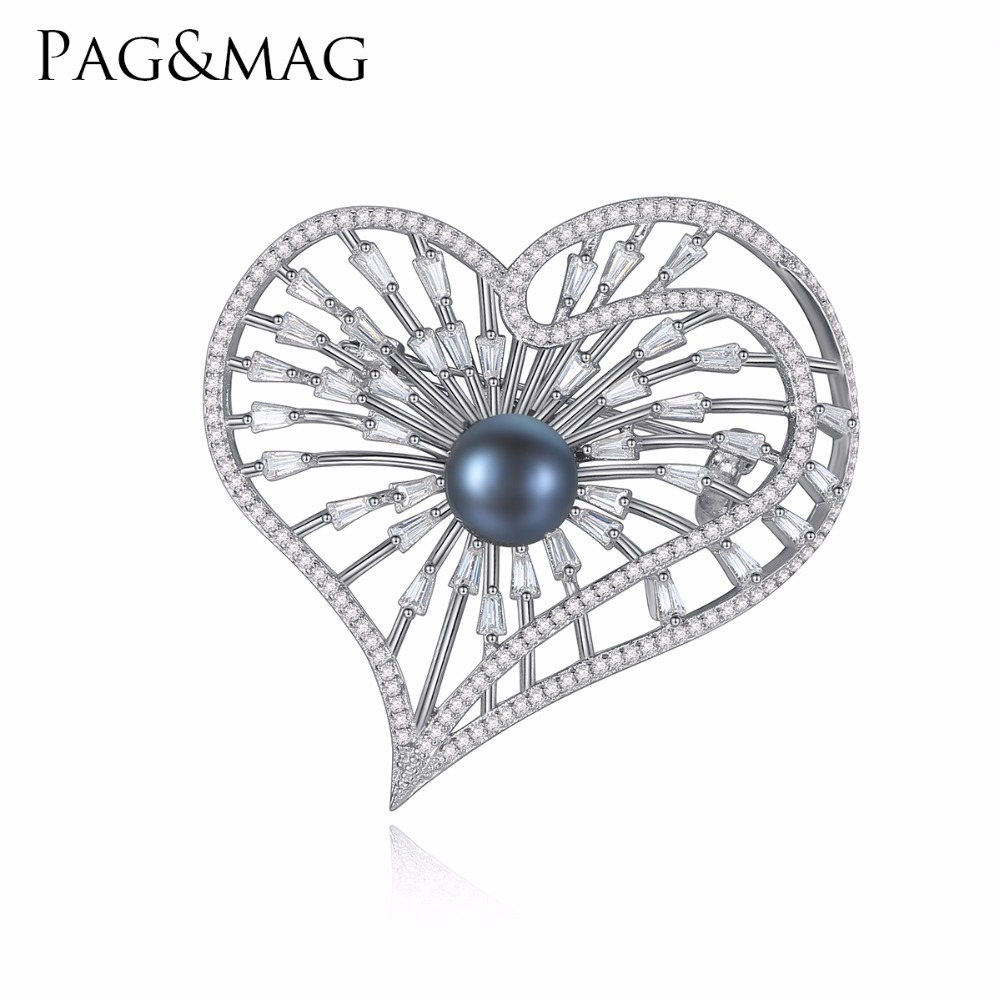 PAG&MAG Brand Silver925 Jewelry Heart Shape Inlay Black Pearl Brooch Pin For Elegant Women Anniversary Accessories With Gift Box elegant faux gem rhinestone flower leaf brooch for women