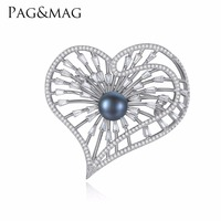 PAG&MAG Brand Silver925 Jewelry Heart Shape Inlay Black Pearl Brooch Pin For Elegant Women Anniversary Accessories With Gift Box