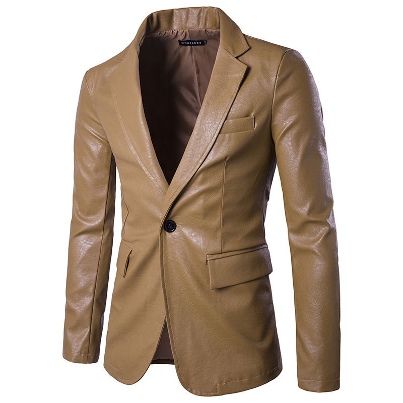 Men's Fashion Cool Suit jacket Khaki Black Red White 4 color PU leather Blazer Size S-XXL