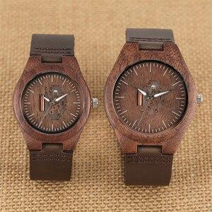 Image 3 - Koffie Bruin Liefhebbers Hout Horloge Creative Arts Holle Paar Uurwerk Toevallige mannen Echt Lederen Horloges Lady Horloges Gift