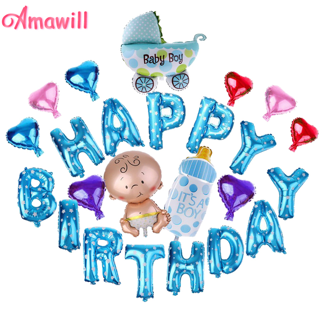 amawill 1 set happy birthday letter foil balloons for 1 year old boy girl baby shower