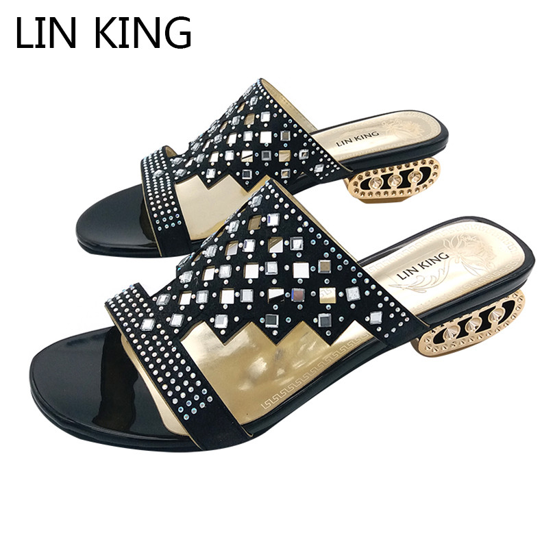 LIN KING New Design Pierced Rhinestone Women Slippers Bohemia Glitter Slides Fashion Square Heel Summer Party Slippers Big Size lin king luxury rhinestone women flats slippers fashion crystal soft sole summer shoes ladies cool outdoor slides big size 42