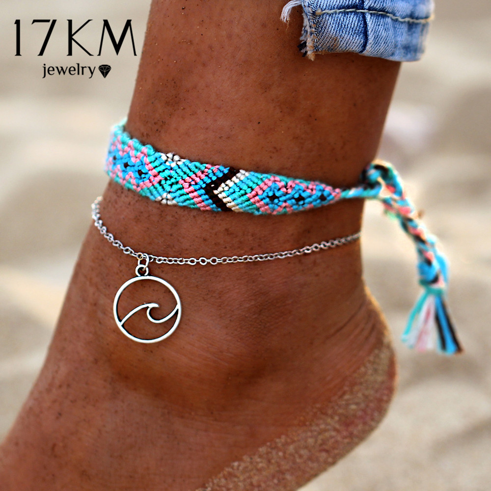 17KM Vintage OM Rune Anklets For Women2020 New Handmade Cotton Anklet Bracelets Fashion Female Beach Foot Jewelry Gifts 2 PCS