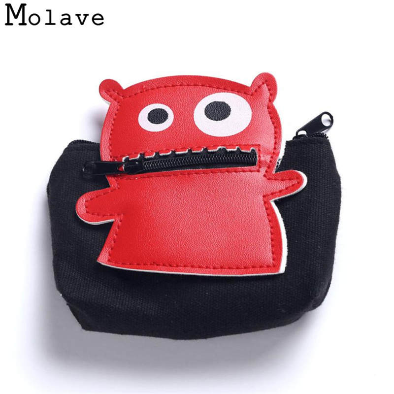 Naivety PU Leather Coins Purses Zipper Coin Purse Small Cartoon Monster Patchwork Wallet Mini Bag 50S71213 drop shipping