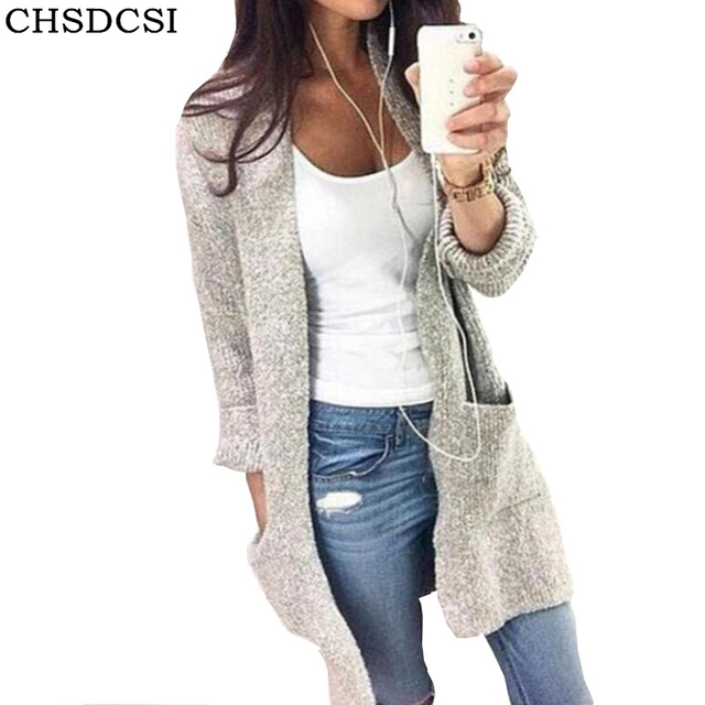 CHSDCSI Otoño Invierno 2018 moda gris Cardigan mujeres