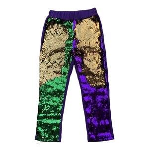 Geen MOQ Baby Meisjes Mardi gras Omkeerbare sequin leggings broek Verjaardag Outfit Mode glanzend meisje broek(China)