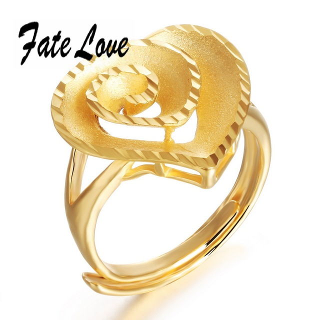 Big Heart Rings For Women 18K Gold Plated Hollow Heart Shape