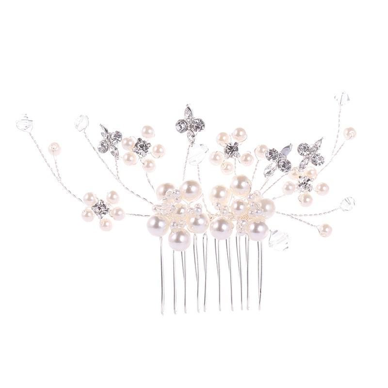 Silver Pearl Crystal Hair Combs (6)