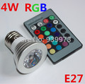 10pcs/lot 3/4W E27 RGB LED Bulb 16 Color Change Lamp spotlight 110 220 230V  for Home Party decoration with IR Remote