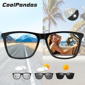Image 1 - Brand Chameleon Sunglasses Photochromic Men Women Day Night Vision Driving Goggles Aluminium legs oculos gafas de sol hombre