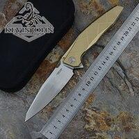 Folding Knife High Quality AH 46 APACHE Knife Blade M390 Satin Handle TC4 Plane Bearing Outdoor