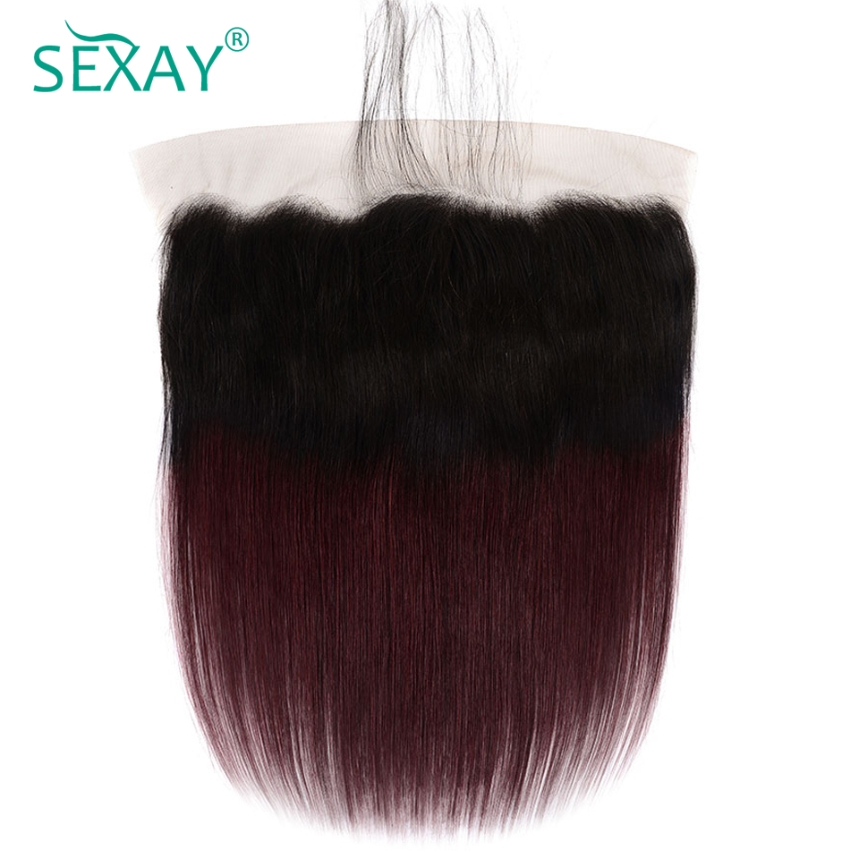 1B/Burgundy Color 13x4 Lace Frontal Closure SEXAY Brazilian Non Remy Hair Pre Plucked Dark Roots Ombre Red Wine Color Frontals