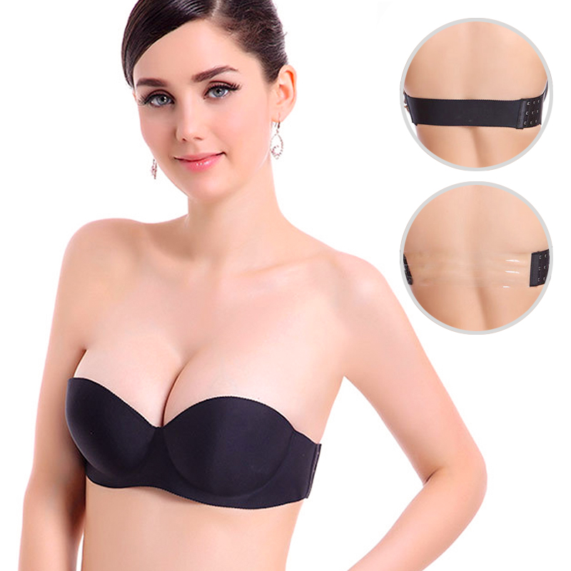 Women Magic Push Up Bra Strapless Women's Bras Underwired 1/2 Cup Back Band Dress Wedding backless invisible Bras G#(China)